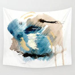 You are an Ocean - abstract India Ink & Acrylic in blue, gray, brown, black and white Wall Tapestry