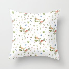 watercolor flowers patterns Throw Pillow
