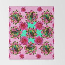 GREEN PEACOCK &  PINK ROSE GARDEN PINK PATTERN Throw Blanket