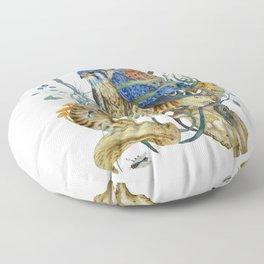 Kestrel and skulls Floor Pillow