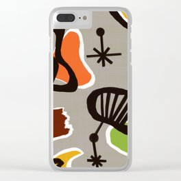 Mid Century Art Barkcloth Inspired Clear iPhone Case