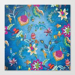 Blue Lapis Velvet Texture Chintz Multicolour Bohemian Floral Pattern Canvas Print