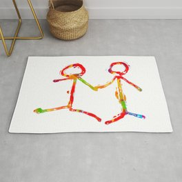 happy couple holding hands in red yellow blue green Rug