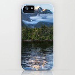 Sunset in beautiful Harrison Cove at Milford Sound iPhone Case