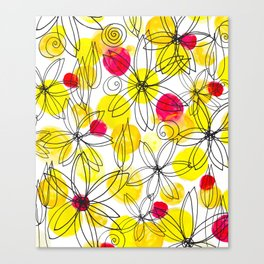 Pineapple Upside Down Floral: Bright Paint Spots with Black Ink Floral Elements Canvas Print