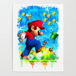 Super Mario Van Gogh style Poster