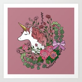 Unicorn in a Pink Rose Garden Art Print