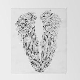 Black and White Angel Wings Throw Blanket