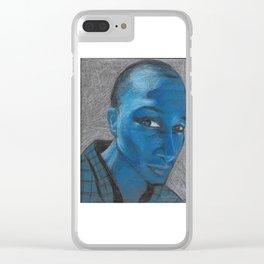 Blue - Pastel Portrait Clear iPhone Case
