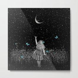 Wonderland Smiling Starry Night II - Alice In Wonderland Metal Print