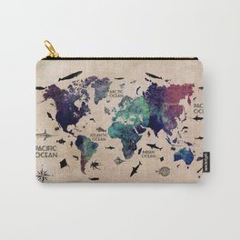 Oceans Life World Map #map #worldmap Carry-All Pouch