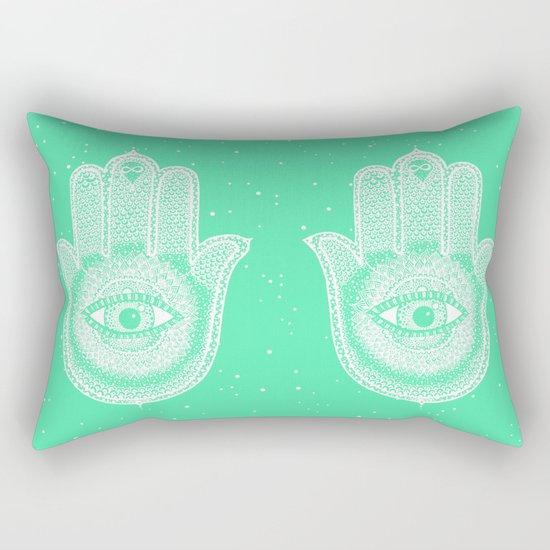Hamsa lucky green Rectangular Pillow
