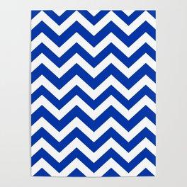 UA blue - blue color -  Zigzag Chevron Pattern Poster