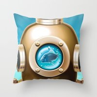 underwater Throw Pillows featuring Underwater by Texnotropio