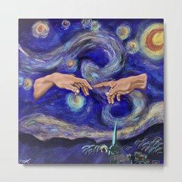 Starry Night x Creation of Adam Metal Print