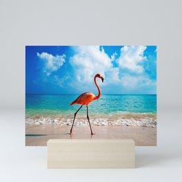 Amazing Awesome Pink Flamingo Walking Along Beach Ultra HD Mini Art Print