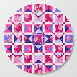 Shapes and Flowers In Pink And Purple Cutting Board