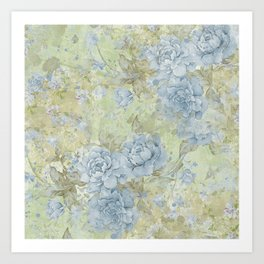 Shabby Chic Floral - Blue Roses Collage Art Print
