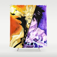 sasuke Shower Curtains featuring The Fated Showdown by The Sketchy Corner - Ian Moir
