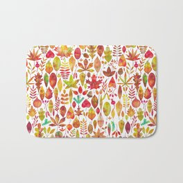 Red gold brown watercolor Autumn leaves pattern Bath Mat
