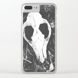 Woodland Animal Skull Black and White Photography Clear iPhone Case