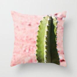 Pink Desert Cactus Throw Pillow