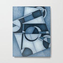 Cyanotype Mid Century Modern Abstract Composition Metal Print