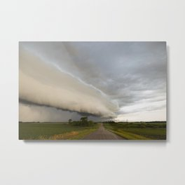 Shelf Cloud Over Country Road 1 Metal Print