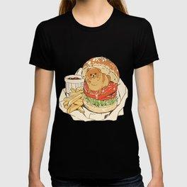 dog in hamburger T-shirt