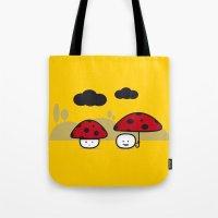 mushroom Tote Bags featuring Mushroom by pludadesign