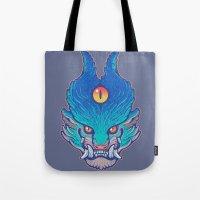 foo fighters Tote Bags featuring Blue Foo by missmonster