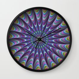 Twisted fractal sun Wall Clock