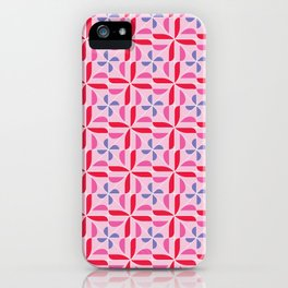 Red, pink, blue pattern iPhone Case