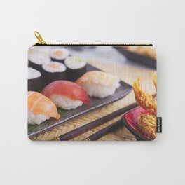 Shrimp tempura and various Japanese sushi on a plate Carry-All Pouch