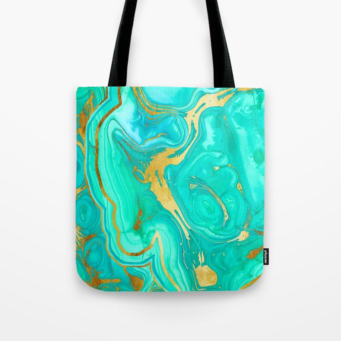 Geode 52 Gold Stone Slab Tote Bag