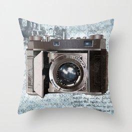 Blue Vintage Camera Art Throw Pillow