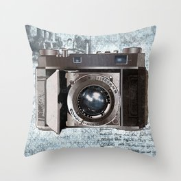 Blue Vintage Camera Art Throw Pillow