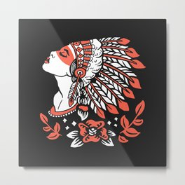 Indian cute lady, Hand drawn illustration of apache indian girl Metal Print