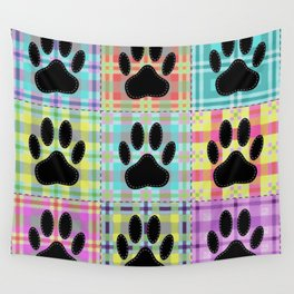 Colorful Quilt Dog Paw Print Drawing Wall Tapestry
