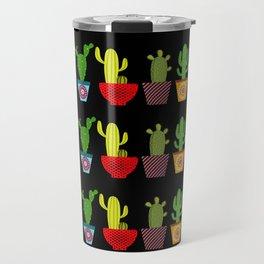 Cactus in black Travel Mug