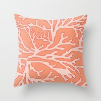 coral Throw Pillows featuring Coral by victoria negrin