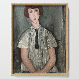 Amedeo Modigliani - Young Girl In A Striped Shirt Serving Tray