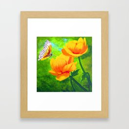 Butterfly with flowers Framed Art Print