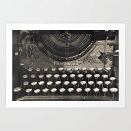 Underwood Typewriter Writer Author Journalist Poet Book Writing Poetry Bibliophile Library Word Art Photography Sepia  Art Print