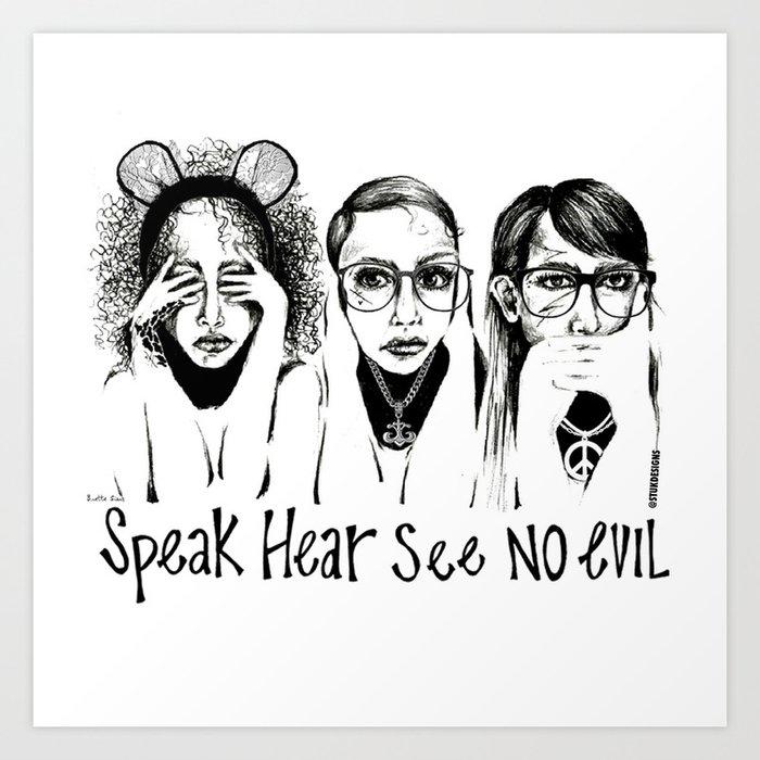 Speak, Hear, See No Evil STUK GIRLS Art Print