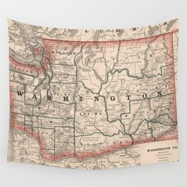 Vintage Map of Washington State (1883) Wall Tapestry