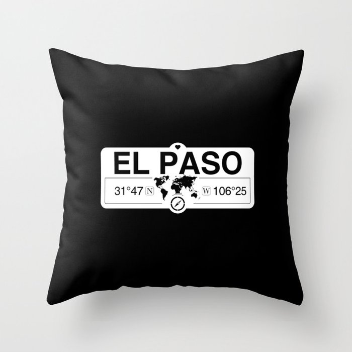 El Paso Texas Map GPS Coordinates Artwork with Compass Throw Pillow
