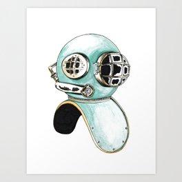 Scuba Helmet Art Print
