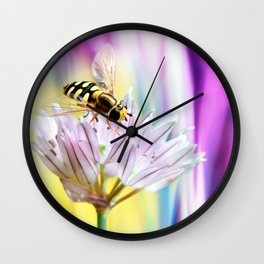 Hover fly and chive blossom Wall Clock