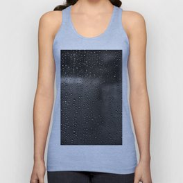 Black and White Rain Drops; Abstract Unisex Tank Top